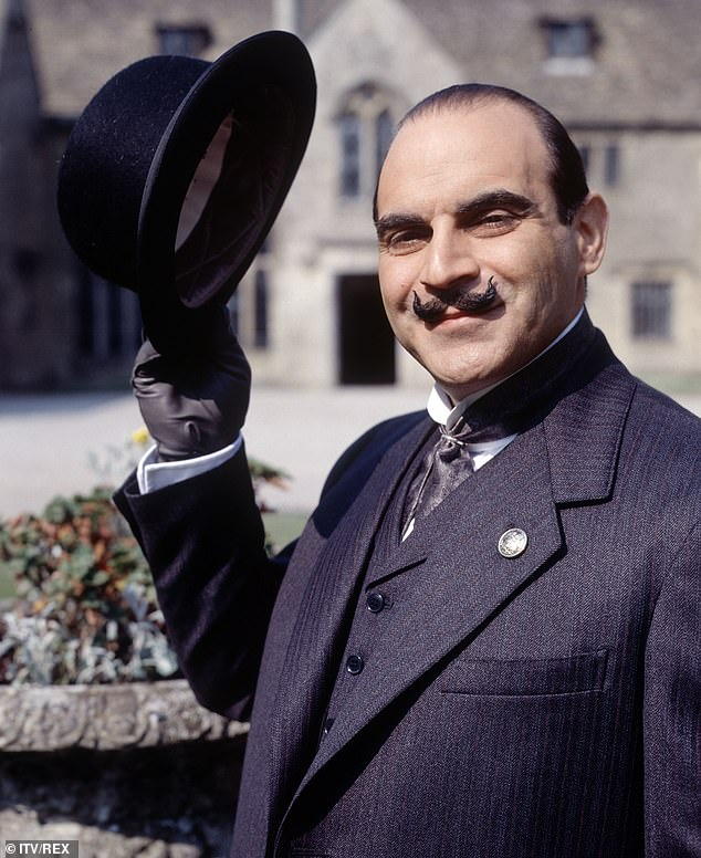 Devastated: David Suchet revealed on Monday that filming the iconic character Poirot's death was one of the most emotional days of his life (pictured on set as Poirot)