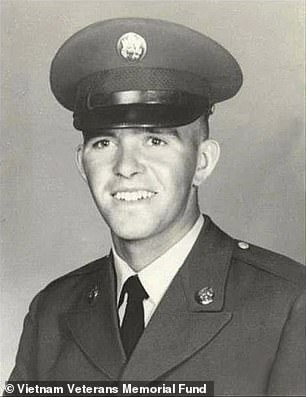 The name of the soldier that President Joe Biden traced the name of was Dennis F. Shine (pictured), the White House later said