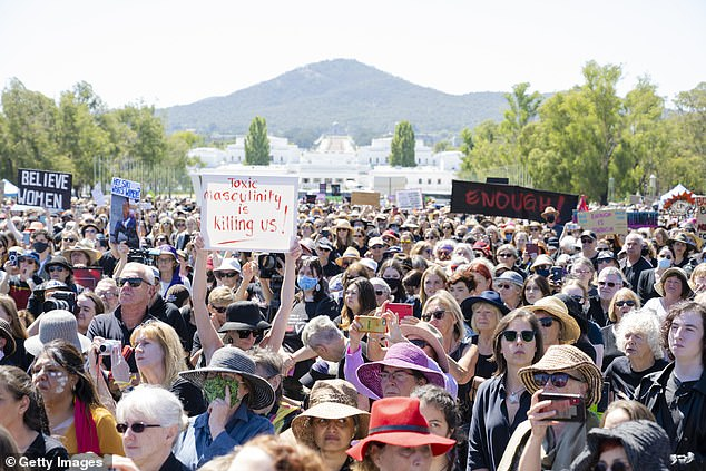 Protests: Last month, tens of thousands of people across the country took part in the #March4Justice to protest against sexual violence against women in the wake of rape allegations that have rocked the government, with a major demonstration in Canberra