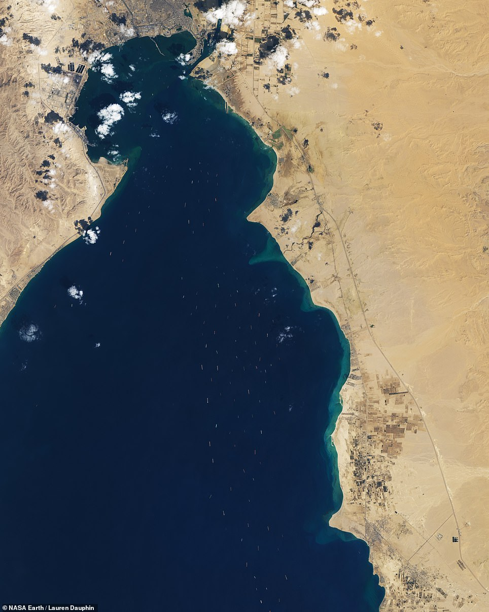One of the world's most important shipping lanes-the Suez Canal-is reopening this week. But as satellite imagery shows, the traffic jammed up around the canal's two ends is substantial and is likely to take some time to disperse