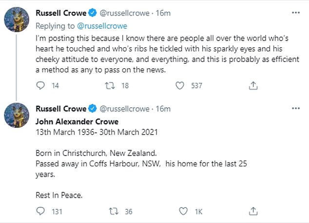Tragic: On Tuesday, Russell announced the sad news of his father's death on Twitter, calling his dad 'the most gentle of men'