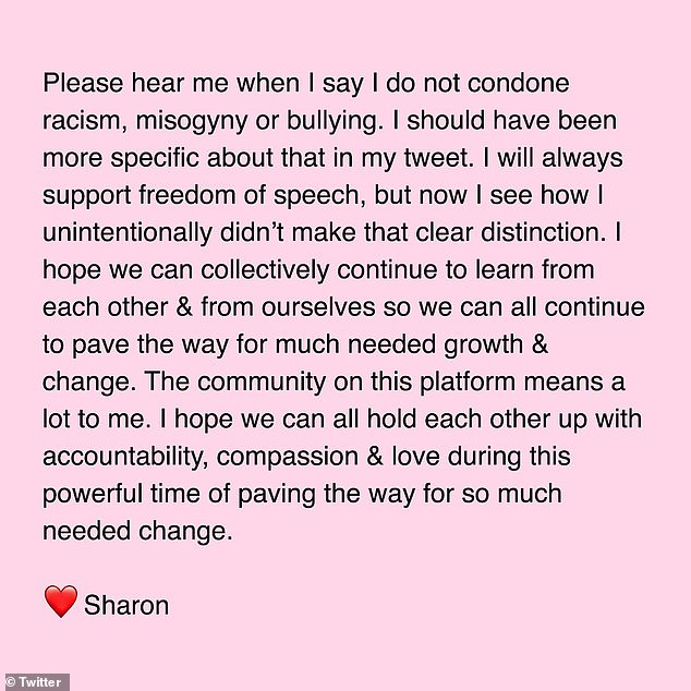 Clarification: After she faced a backlash and accusations of racism, Sharon issued a statement (above) Friday apologizing 'to anyone of colour that I offended and/or to anyone that feels confused or let down'