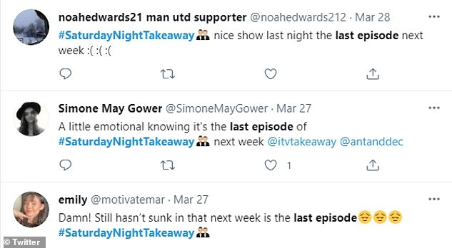 Upset:Fans of the show took to Twitter to express their sadness over the show reaching its final episode of the series already