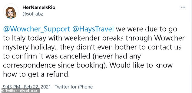 This user said they were due to go on holiday in Italy but they were never told it was cancelled