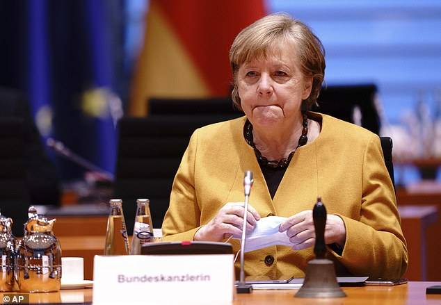 Germany's slow vaccine roll-out and prolonged lockdown have piled pressure on Angela Merkel, pictured, who is set to leave office after September's general election