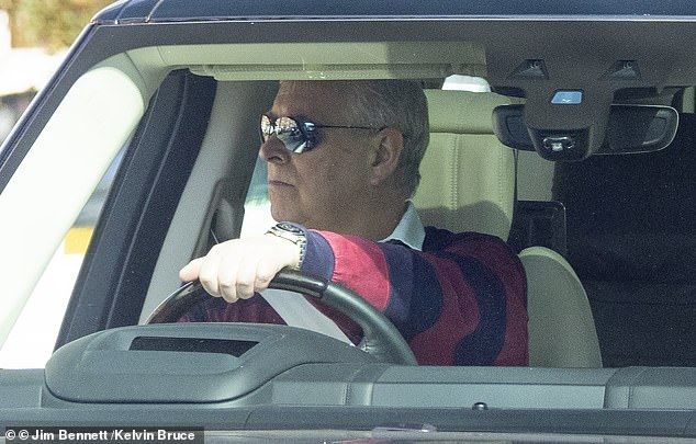 Pictured: Prince Andrew leaves his home in the grounds of Windsor Castle as his friend Ghislaine Maxwell was charged with more offences in the US on Tuesday earlier this week