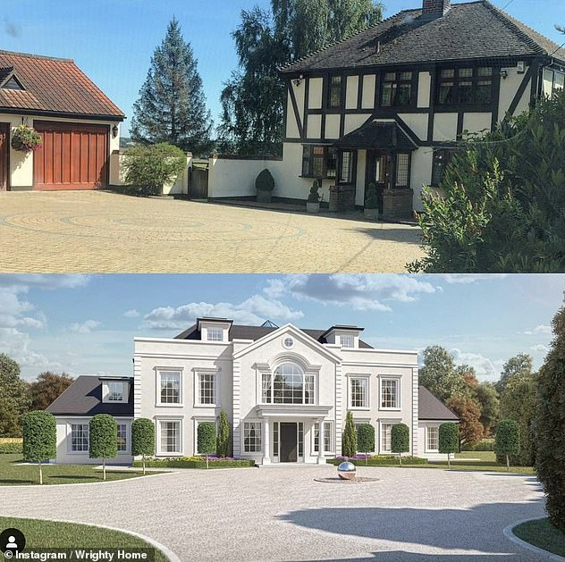 Impressive: The couple recently shared a CGI image of the palatial home they're planning to build (bottom), revealing its huge windows and bright white exterior compared with a snap of the house they purchased in 2019 9top)