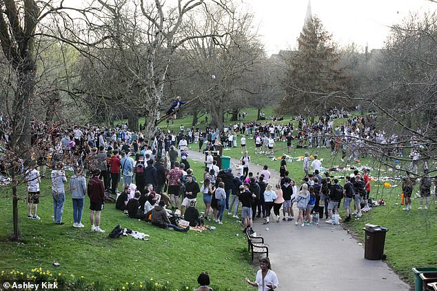 People have also been quick to take advantage of the reintroduction of outdoor sports, with golfers, tennis players and outdoor swimmers already out in force - while others took to Twitter to announce their plans to have drinks (pictured: Nottingham on Monday)