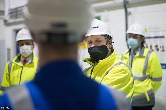 Sir Keir was at Hartlepool's nuclear power station, run by energy giant EDF, which he said was 'a business that provides the best part of 700 well-paid skilled jobs in the local community'.
