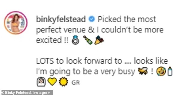 Exciting: She penned: 'Picked the most perfect venue & I couldn¿t be more excited !! LOTS to look forward to .... looks like I¿m going to be a very busy', alongside a bride, a sun and a baby emoji