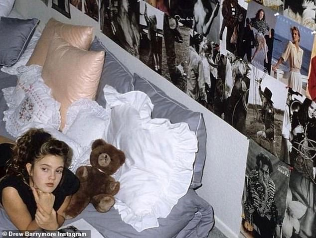 Throwback: The post contained several images of the E.T. actress as a young girl, posing inside her bedroom decorated with magazine clippings