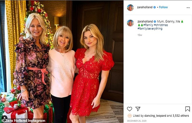 Last activity on the grid:Zara's last Instagram activity was December where she posted a festive picture of herself with her mother and grandmother (pictured)