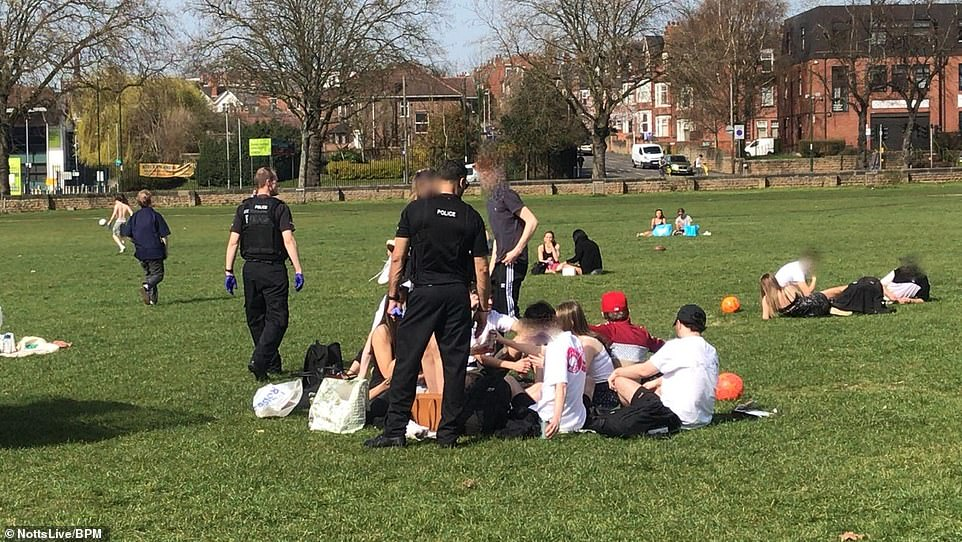 Police were on patrol in the Forest Recreation Ground in Nottingham on March 30 to ensure everyone followed lockdown rules