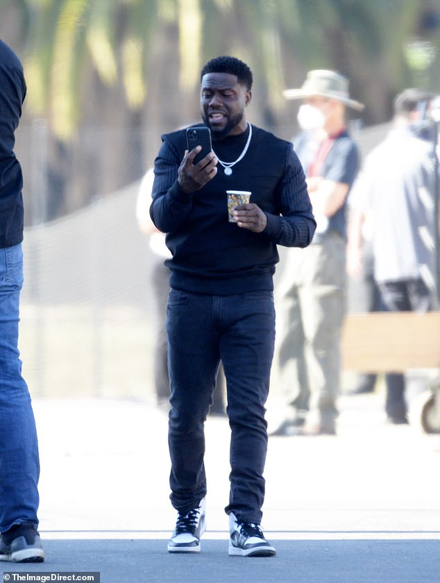 Action! Emmy-nominated producer Kevin Hart continued his work producing and starring in Netflix's eight-episode limited series True Story in Los Angeles on Monday