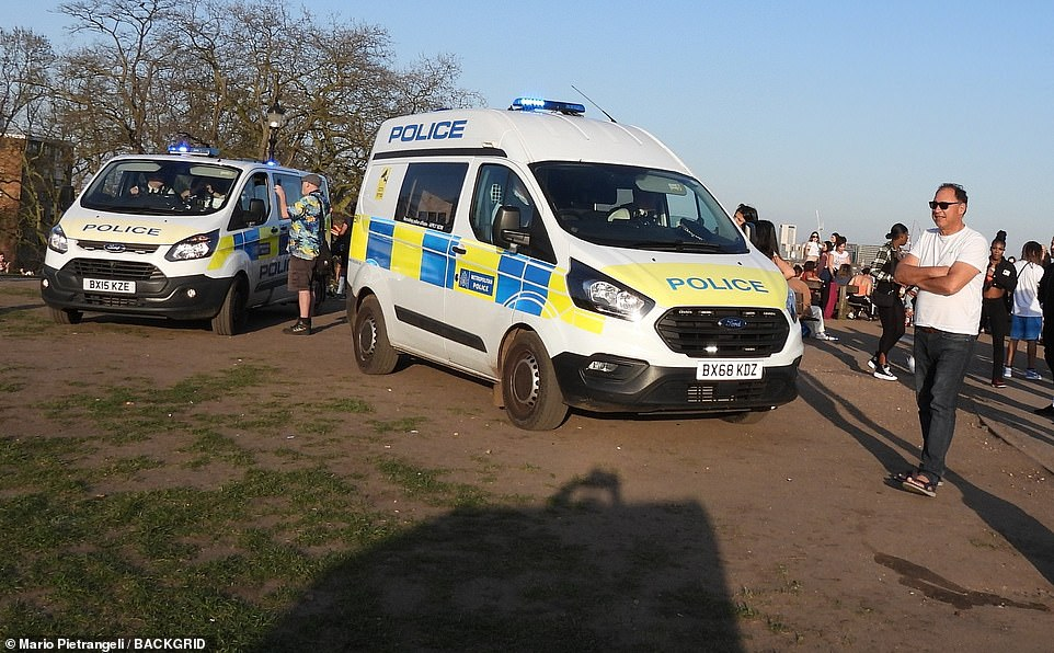 Two police vans were seen in Primrose Hill as officers ensured visitors were following the rules. Six people or two full households can meet outdoors