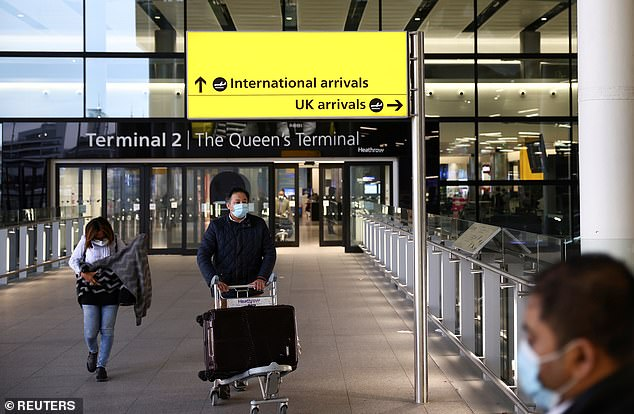 Following pleas from a group of 40 MPs on Monday, industry leaders from the British Chambers of Commerce, Federation of Small Businesses and UK Hospitality said the economic recovery would be put at risk if overseas trips remained illegal. Pictured: Passengers at Heathrow in February