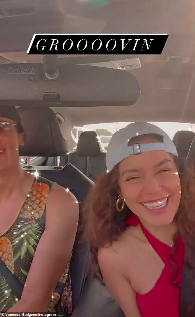 Movin' to the groovin': The pair teamed up for a quick video where they were seen swaying along and 'grooooovin' to a song while sitting in their parked car near the beach