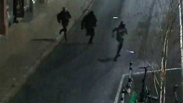 Newman, Rabjohns and Fitzharris tried to make their getaway on foot (pictured) covered in brick dust