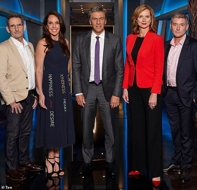 Back on screens? Channel 10's Beverley McGarvey hinted Shark Tank Australia could return, saying it's a program that is discussed among the network's bosses every six months. Pictured left to right is: Steve Baxter, Janine Allis, Andrew Banks, Naomi Simson and Glen Richards