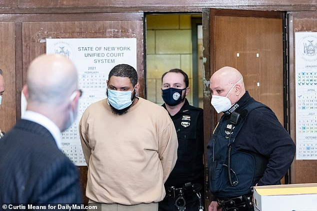 Randy Santos, 27, appears in Manhattan Supreme Court on March 30 on charges related to the 2019 killing of four homeless people in lower Manhattan