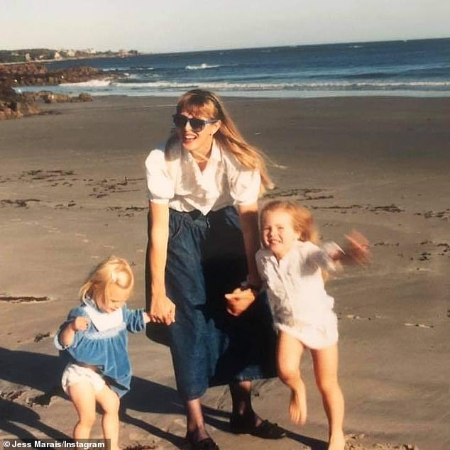 Family: Jessica is pictured as a child with her mother and sister at the beach