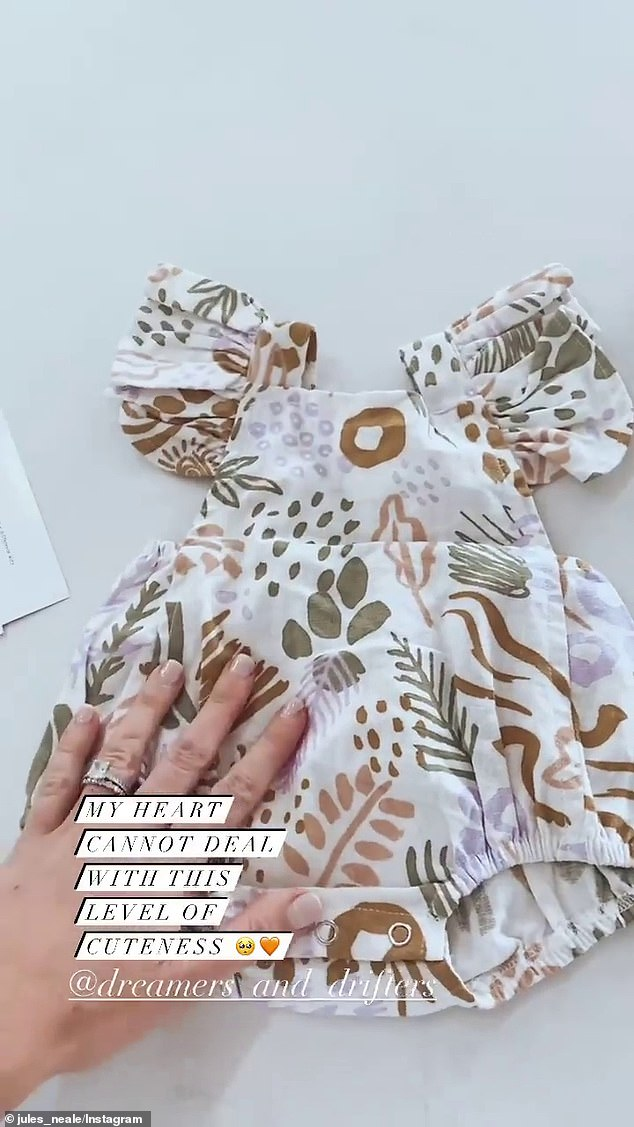 Adorable: Jules also shared a short video on her Instagram Story of a cute baby dress for her unborn daughter, and wrote: 'My heart cannot deal with this level of cuteness'