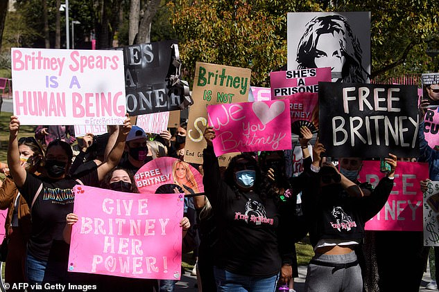 Protests: The pop star's fans have railed behind a #FreeBritney movement supporting her in her fight for legal freedom from her father