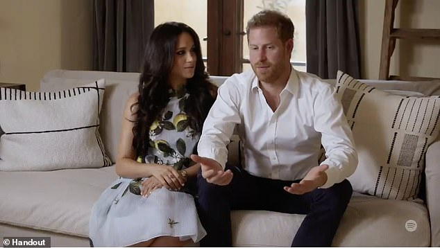 Meghan Markle and Prince Harry surprised a teenager with a Zoom mentoring session after seeing her 'potential in a few short minutes,' according to LA Works Executive Director Deborah Brutchey. Pictured,surprise appearance at the #SpotifyStreamOn event last month