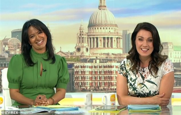 Defence: Good Morning Britain's Susanna Reid (left) leapt to her co-host Ranvir Singh's (right) defence on Wednesday, after her moves on Strictly Dome Dancing were branded 'dreadful'