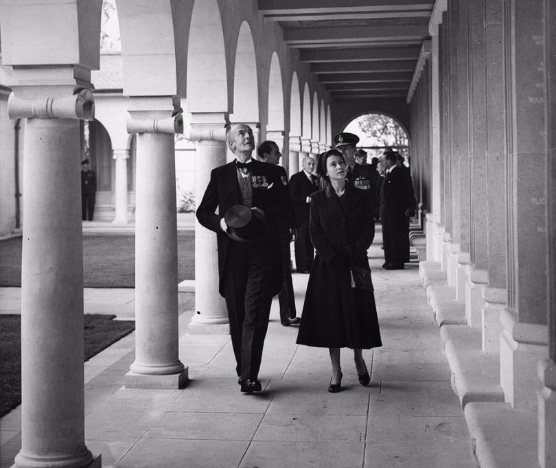 She joked: 'It's a very long time since I've been here,' as she arrived at the memorial - which she had opened in her coronation year, on October 17, 1953 (pictured here)