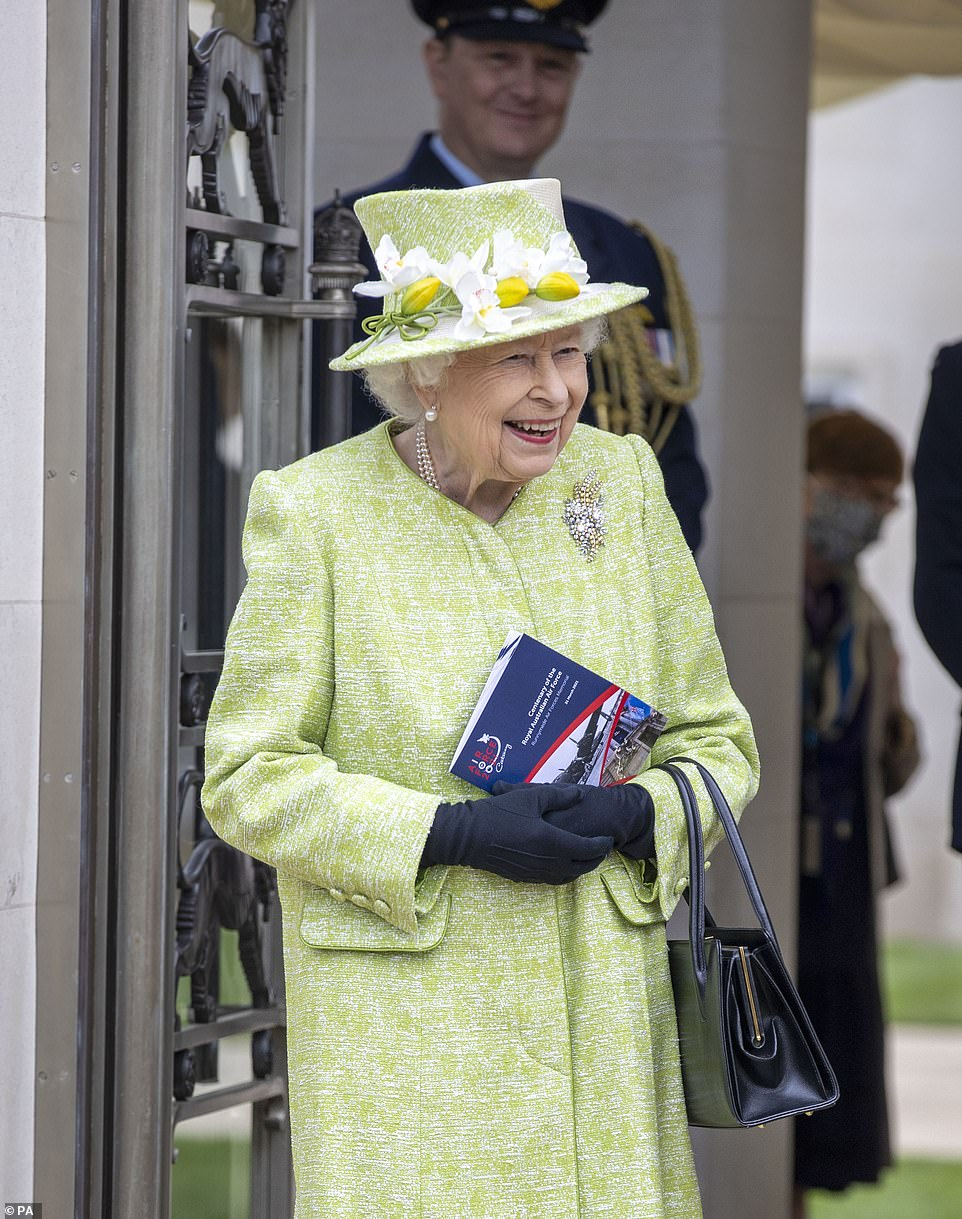 The Queen was in good spirits as she arrived at theCWGC Air Forces Memorial in Runnymede, Surrey