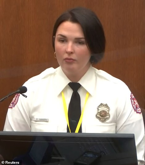 Genevieve Hansen, 27, an off-duty firefighter, resumed her testimony on Wednesday after it was cut short the day before when she was reprimanded by Judge Peter Cahill for interrupting and talking back to Chauvin's attorney Eric Nelson