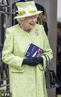 The Queen was in good spirits as she arrived at the CWGC Air Forces Memorial in Runnymede, Surrey