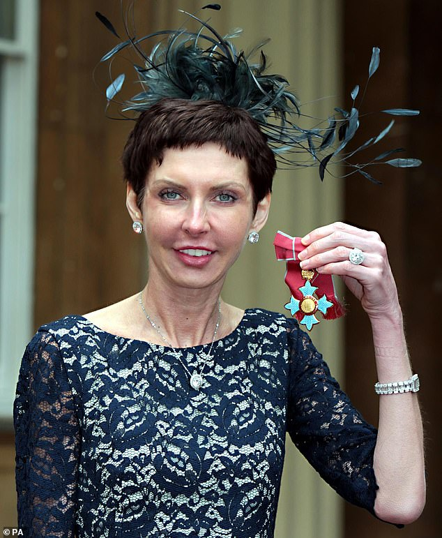 Bet365 boss Denise Coates, 53, increased her salary by 45 per cent, taking her total earnings since 2016 to £1.3 billion. Pictured, in 2012 Ms Coates was awarded a CBE