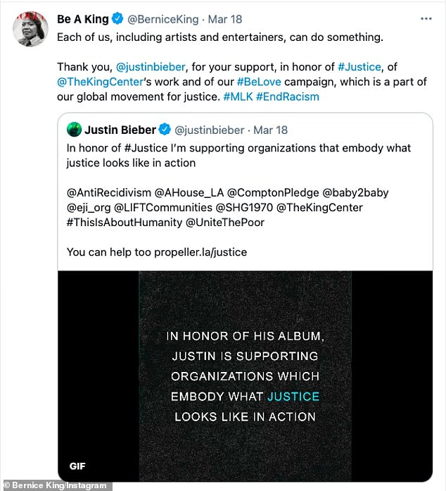 Blessed: Bernice King, the youngest daughter of the late civil rights leader, lent her support for Bieber's inclusion of her father's message on his album