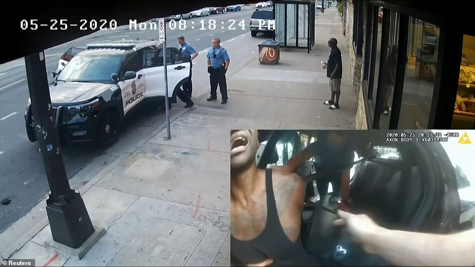 The court was shown footage that spliced a clip of McMillian on the sidewalk with a clip of Floyd inside the squad car