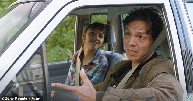 Father-daughter cameo: Benjamin Bratt (right) and his 18-year-old daughter, Sophia (left), who suffers from a physical disability resulting from a brain injury at birth, appear together in the film