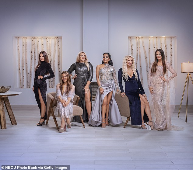 Prosecutors say Shah flaunted her wealth on The Real Housewives of Salt Lake City. Season 1 cast members are, from left to right, Lisa Barlow, Mary Cosby, Heather Gay, Jen Shah, Whitney Rose and Meredith Marks
