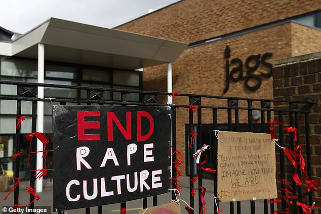 It comes after more than 10,000 harrowing reports of sexual assault were posted on the Everyone's Invited website - naming top public schools including Eton College, Hampton and Charterhouse, with both girls and boys among the alleged victims. Pictured: A protest against rape culture atJames Allen's Girls' School