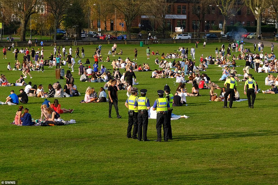 Police were out in forceat the Forest Recreation Ground in Nottingham yesterday. Lockdown rules were partially relaxed this week