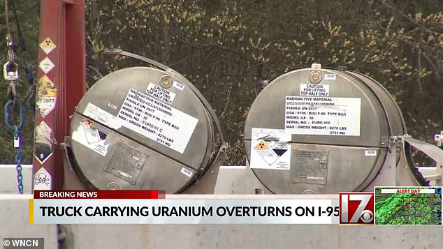 Two of the four 1,000-gallon containers of uranium hexafluoride on the truck had fallen from it during the crash