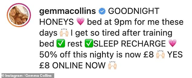 'I'm so tired after workout': Gemma admitted she is in bed a lot at 9pm now that she works out so regularly