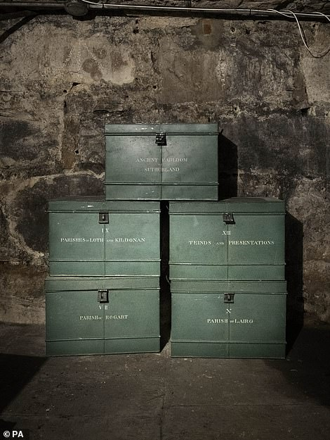 Green painted Tole Deed boxes are among the items found in the castle