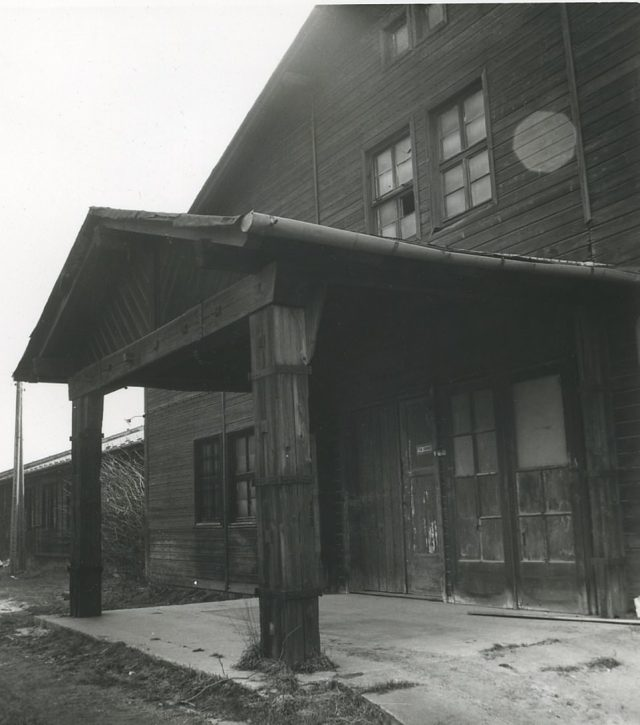 The building's front doors are seen in this wartime photo. It was surrounded by barbed wire fencing to prevent any would-be escapees from trying to flee the concentration camp. The first complex at the camp to liberated was Auschwitz III which was overrun by the Red Army in late January, 1945