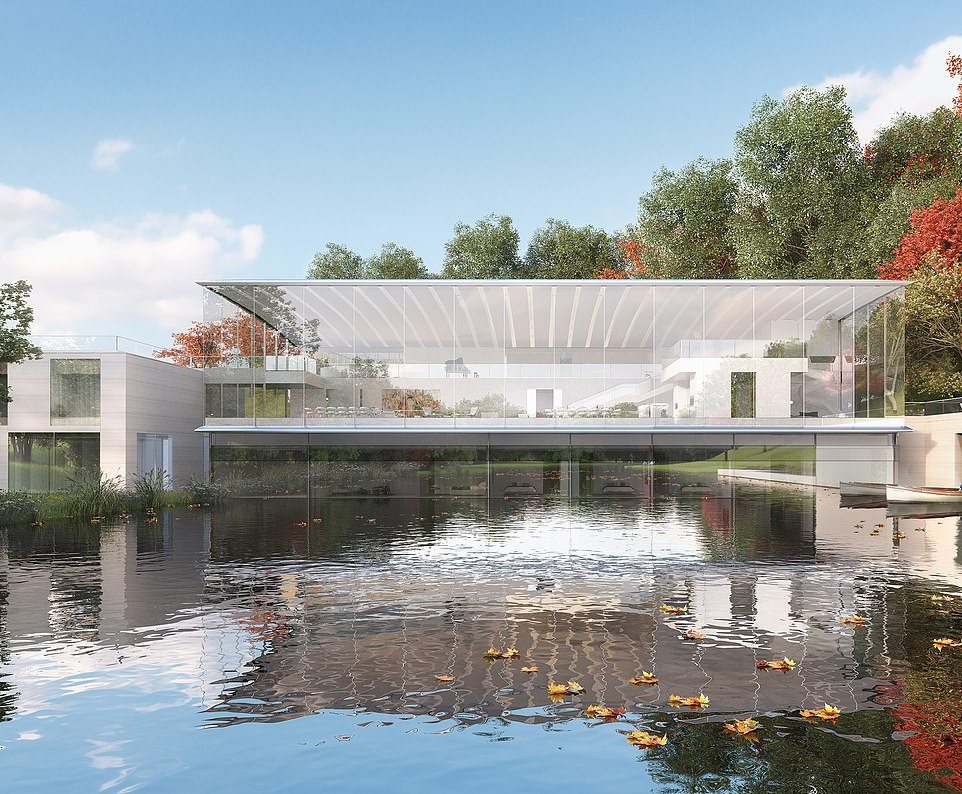 Concepts for the palatial property are found in the visualisation made by designers, which show a waterside paradise
