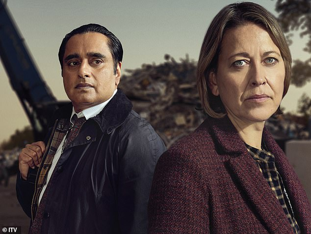 As everyone gathered at the hospital to hear whether DCI Cassie Stuart (Nicola Walker) would make it, DI Sunny Khan (Sanjeev Bhaskar, both above) also worked on the case