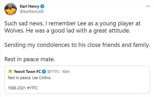 Karl Henry tweeted a tribute, saying Collins was 'a good lad with a great attitude'