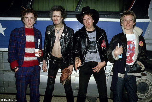 The real rockers: Pistols - set for release next year - is based on the legendary rock band - consisting of Johnny Rotten, Sid Vicious, Steve Jones, Paul Cook and Glen Matlock - and their rise to fame in the 1970s (the band L-R minus Glen Matlock pictured in 1978)