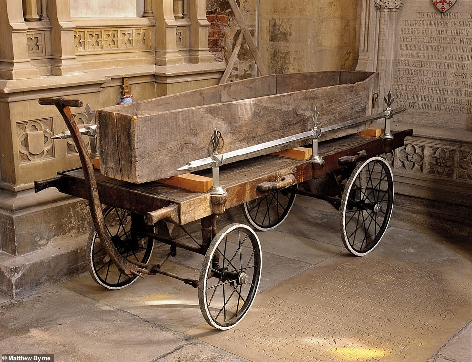 ST PETER & ST PAUL'S CHURCH, HOWDEN, EAST YORKSHIRE: This, says Matthew, is an example of antique funeral equipment. It's a late 17th-century parish coffin on an 18th-century trolley – and an early example of recycling, he adds