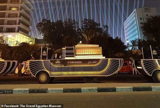 Each gold colored carriage (concept image) will feature the name of the royal and is designed with shock absorbers to ensure the ancient remains survive the 40-minute journey through the streets of Cairo